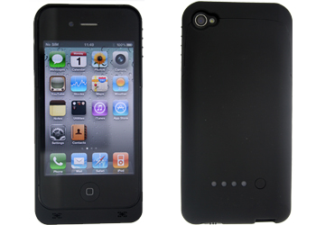apple iphone 4/iphone 4s power case black with 1900mah capacity