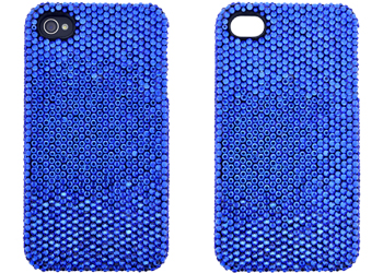 apple iphone 4, 4s - bling crystal shell case blue