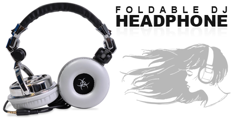 Fonerange foldable dj headphone with swivel earcup - chrome and grey