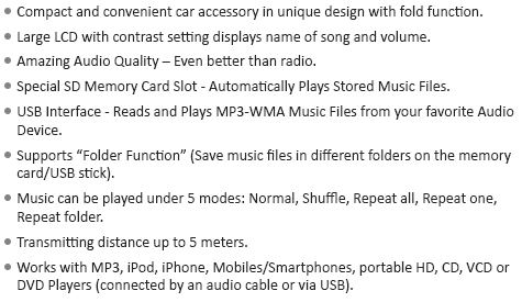 mp3 player with fm transmission for car with remote control