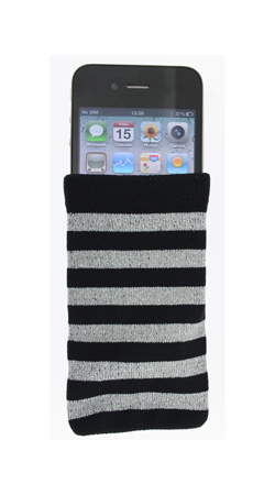 Fonerange grey and black striped cotton sock for apple iphone 3g/3gs/4