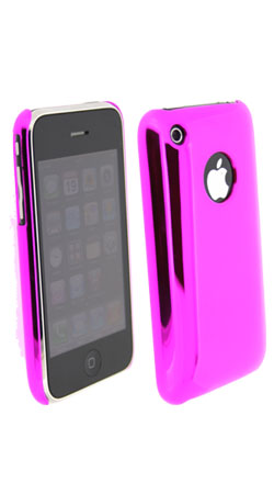 pink back protective chrome shell for apple iphone 3g and 3gs
