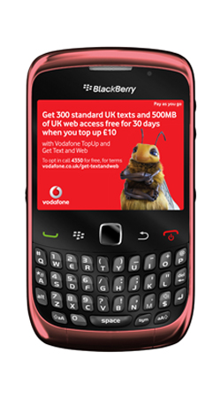 Blackberry 9300 Curve 3G Vodafone PAYG Mobile Phone - Black/Red