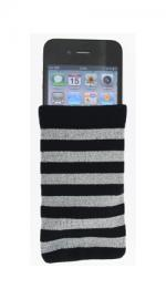 Fonerange Grey and Black Striped Cotton sock for Apple iPhone 3G/3GS/4/4S