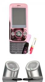 Sony Ericsson W395 Pink Mobile Phone on Orange PAYG (Comes with Free Make up set) & Free MPS-100 Portable Speaker