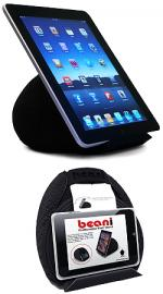 Bean Bag Universal eReader & Tablet Holder Black - Perfect for the bed, sofa, couch (iPad 1, iPad 2, New iPad 3)