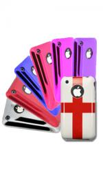 Fonerange Apple iPhone 3g, 3gs Case Shell Cover Pack in Wet look Red, Pink, Red, Blue, Purple, Silver, England Flag (7 Pack Bundle)