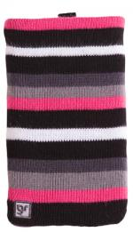 GlamRox Cleaning Mobile Phone Sock Pink/Black Stripe SKGS-M1-105-BC