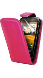 Fonerange HTC Desire C Flip Case Cover Pink with Screen Protector
