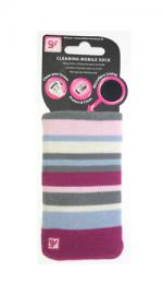 GlamRox Mobile Phone Cleaning Sock - Pink / Grey