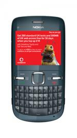 Nokia C3 Graphite Mobile Phone on Vodafone PAYG