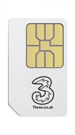 Three 3 Pay As You Go Mobile Broadband Sim Card with 3GB Data for 90 Days
